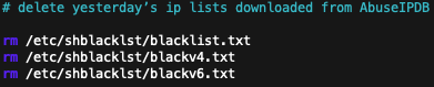 image of rm blacklist text files command
