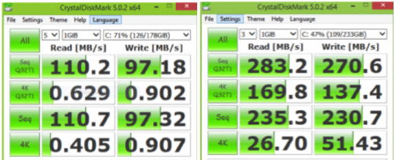 crystal disk benchmarks of HDD verses SDD. showing massive improvements in non-sequential read and write scores.